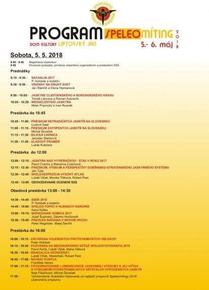 , Program Speleomítingu –  Dom kultúry Lipt. Ján, 5. 5. 2018, Slovenská speleologická spoločnosť