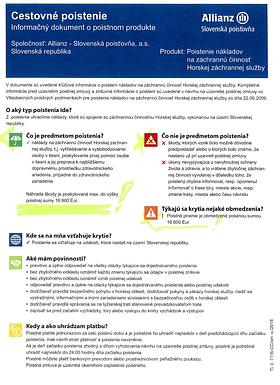 , Ročná Poistka Allianz  – doplnené info, Slovenská speleologická spoločnosť
