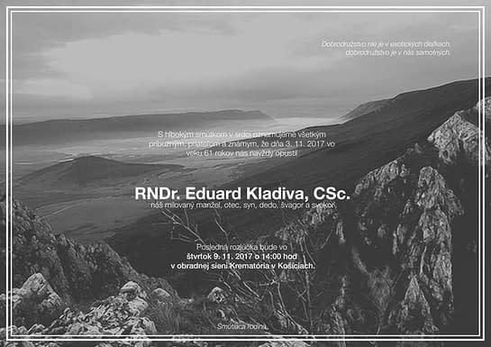, † Edo Kladiva, Slovenská speleologická spoločnosť