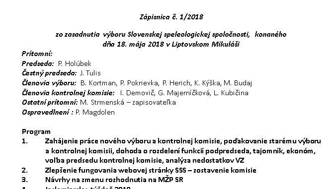 , Zápisnica č. 1/2018, Slovenská speleologická spoločnosť