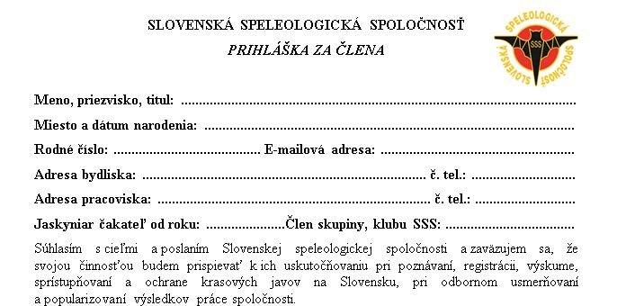 , Prihláška do SSS, Slovenská speleologická spoločnosť