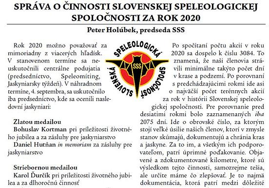 , SPRÁVA O ČINNOSTI SLOVENSKEJ SPELEOLOGICKEJ SPOLOČNOSTI ZA ROK 2020, Slovenská speleologická spoločnosť