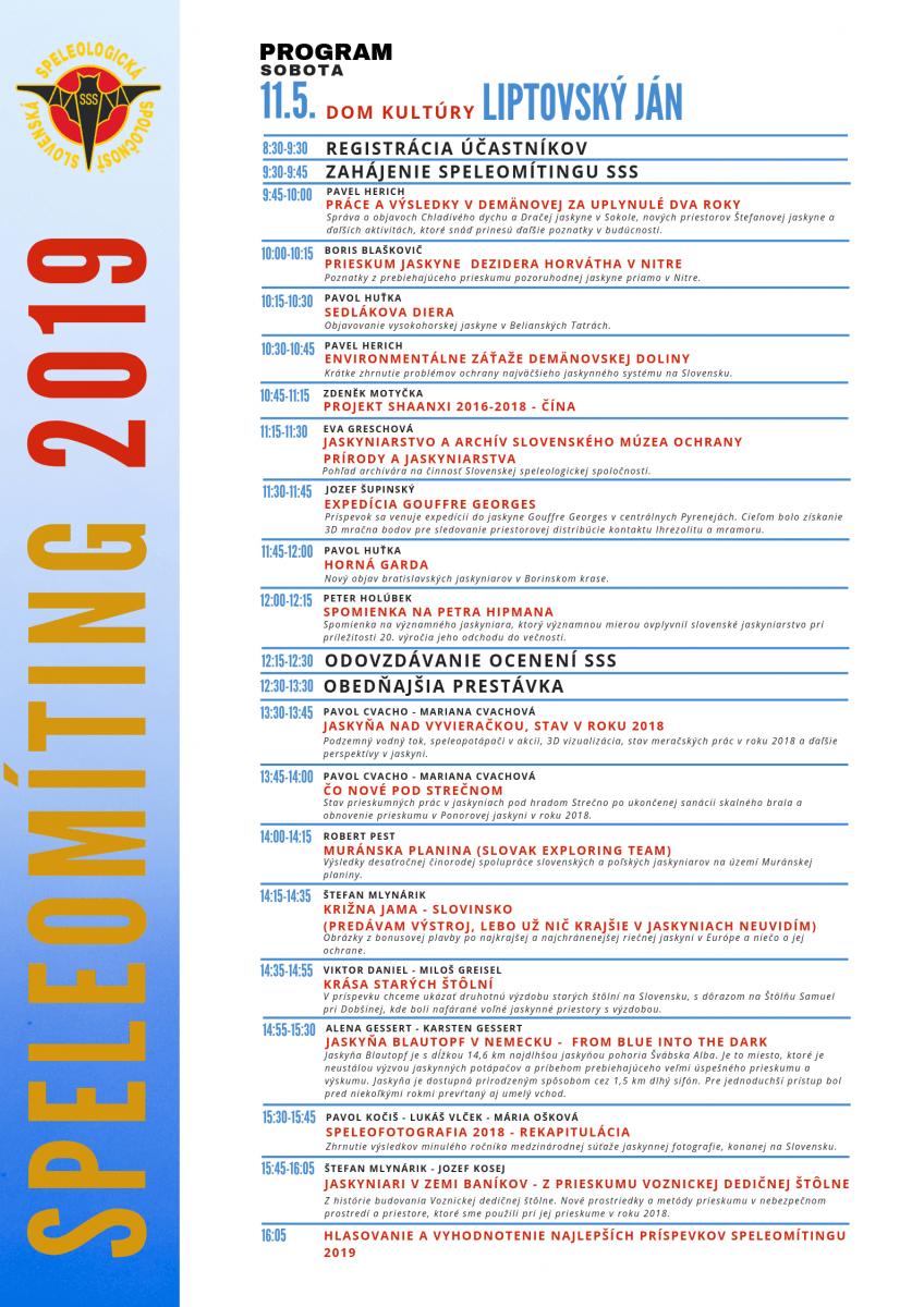 , Speleomíting 2019 – program, Slovenská speleologická spoločnosť